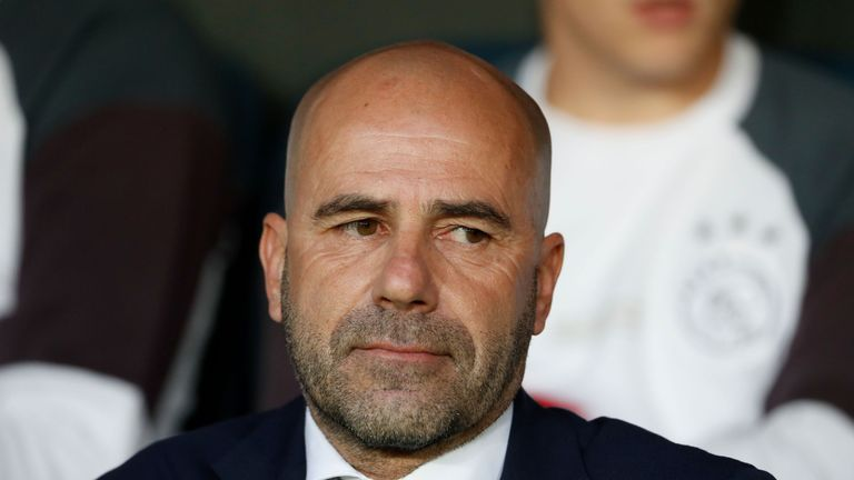 Ajax Dutch head coach Peter Bosz waits for the start of the UEFA Europa League final football match Ajax Amsterdam v Manchester United on May 24, 2017 at t