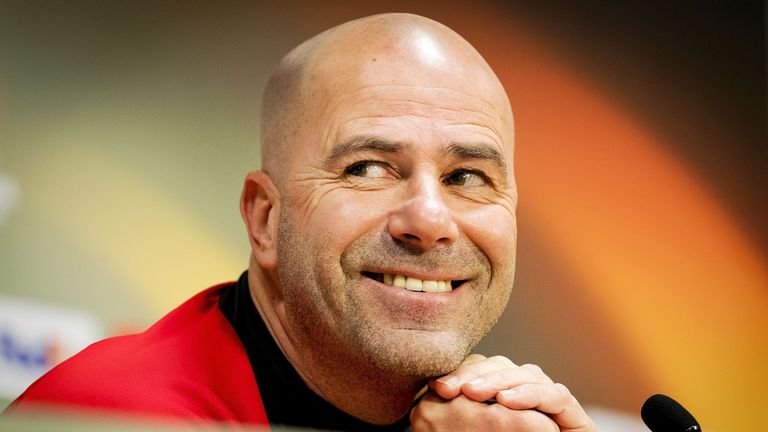 Ajax Amsterdam's Dutch head-coach Peter Bosz smiles during a press conference ahead of a training session in Amsterdam, on February 22, 2017 on the eve of