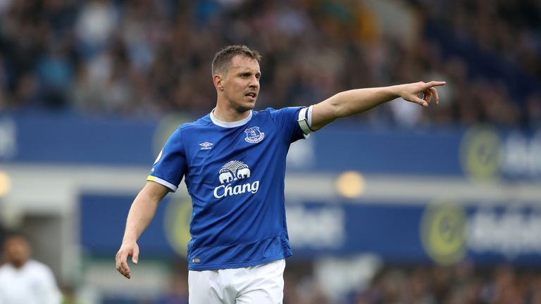 Everton's Phil Jagielka during the Premier League match at Goodison Park, Liverpool
