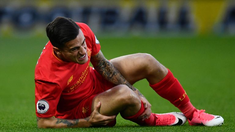 Midfielder Philippe Coutinho was injured early on for Liverpool