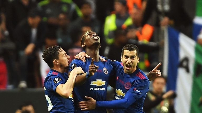 Paul Pogba of Manchester United celebrates scoring his sides first goal with Henrikh Mkhitaryan of Manchester United