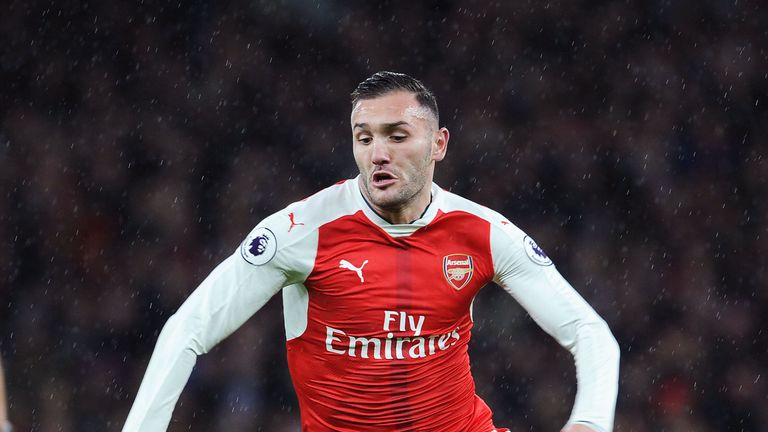 Lucas Perez in action during the Premier League match between Arsenal and Crystal Palace at Emirates Stadium