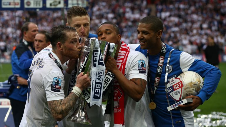 Preston celebrate winning the League One play-off final