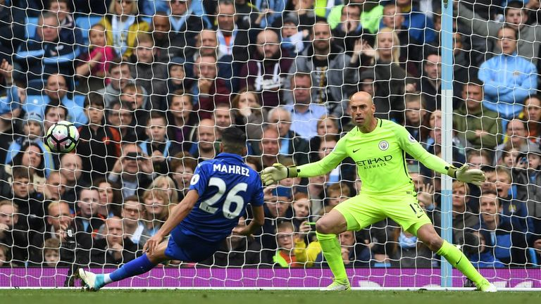 Riyad Mahrez of Leicester City scores a penalty which is later disallowed during the Premier League match at Manchester City