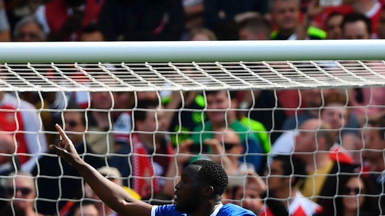 Everton's Belgian striker Romelu Lukaku celebrates scoring their first goal during the English Premier League football match between Arsenal and Everton at