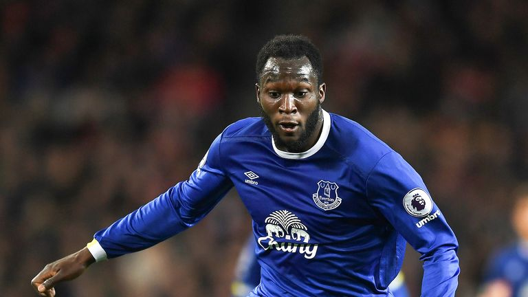 Romelu Lukaku in action during the Premier League match between Manchester United and Everton at Old Trafford