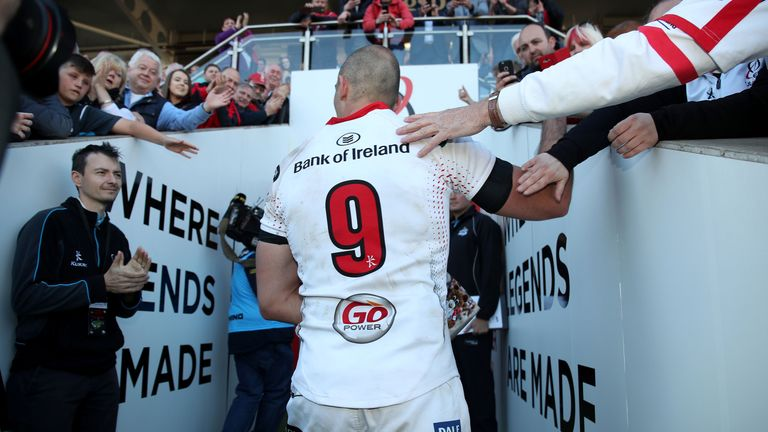 Ruan Pienaar walks down the tunnel at Kingspan for the last time