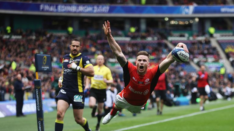 Chris Ashton dives over to score the opening try against Clermont