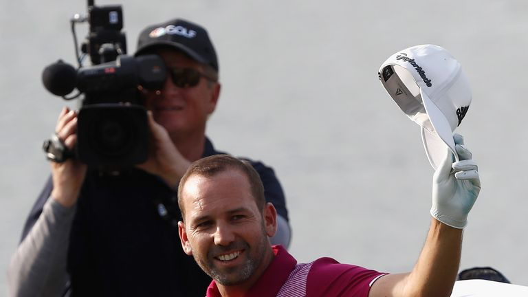 Sergio Garcia celebrates after his sensational hole in one on the 17th at TPC Sawgrass