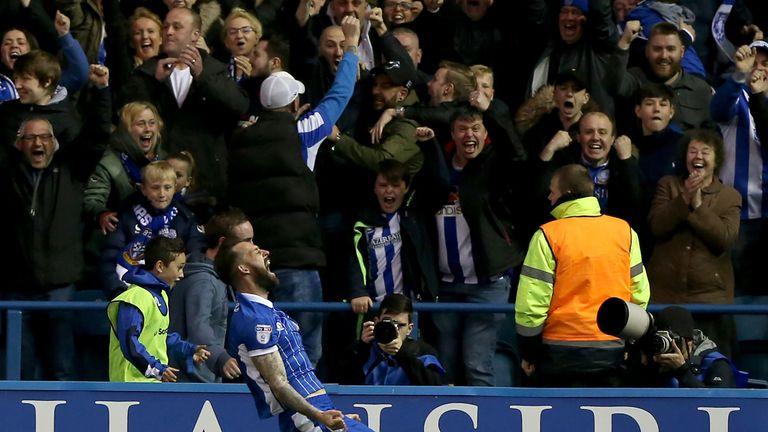 Steven Fletcher of Sheffield Wednesday celebrates scoring his side's goal