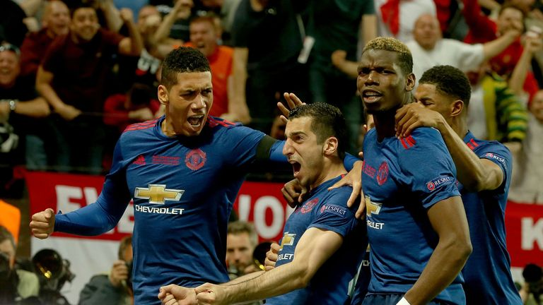Man Utd celebrate at Friends Arena on May 24, 2017 in Stockholm, Sweden.