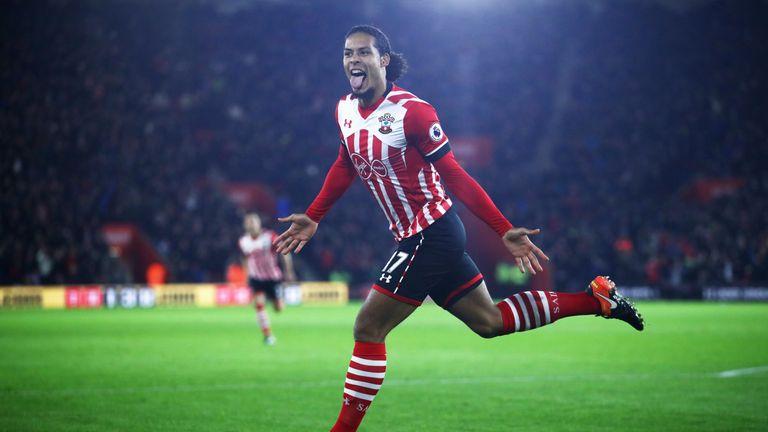 Virgil van Dijk of Southampton celebrates as he scores