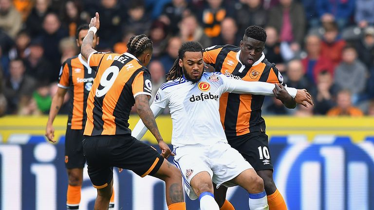 Jason Denayer and Alfred N'Diaye in action during the Premier League match at the KCOM Stadium