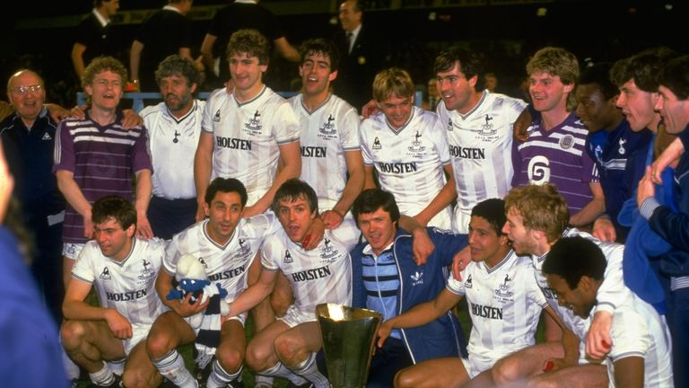 Tottenham celebrate their 1984 UEFA Cup final victory