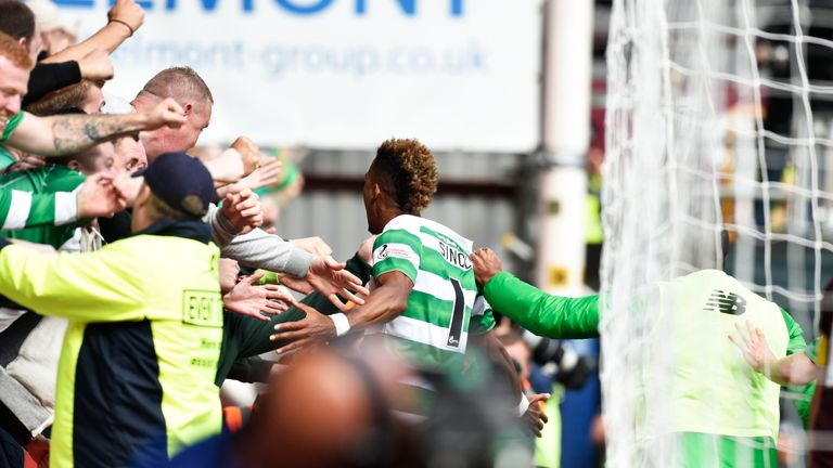 Sinclair celebrates his winner on his debut at Tynecastle in August