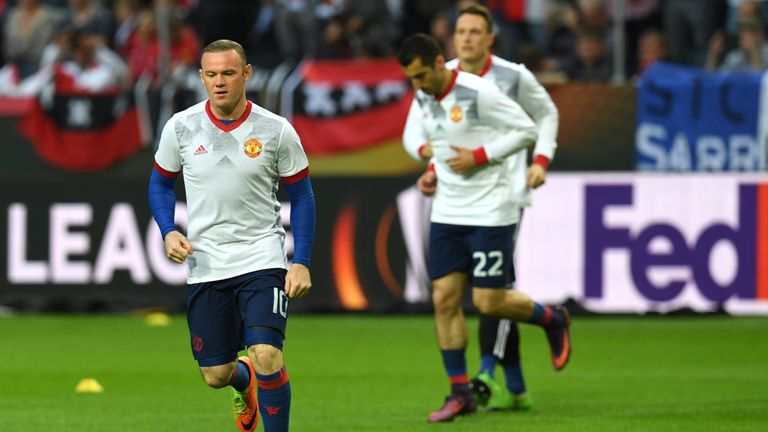 Manchester United's striker Wayne Rooney attends a training prior the UEFA Europa League final football match Ajax Amsterdam v Manchester United
