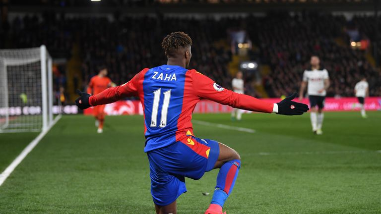 Wilfried Zaha of Crystal Palace in action against Tottenham