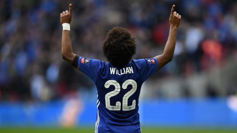 LONDON, ENGLAND - APRIL 22:  Willian of Chelsea celebrates after he  scores his sides second goal  during The Emirates FA Cup Semi-Final between Chelsea an