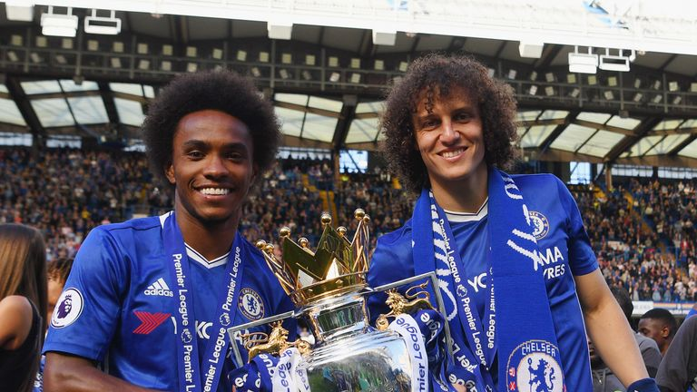 LONDON, ENGLAND - MAY 21:  Willian and david Luiz of Chelsea pose with the Premier League trophy after the Premier League match between Chelsea and Sunderl
