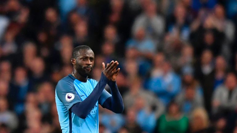 Manchester City's Ivorian midfielder Yaya Toure leaves the pitch after being substituted during the English Premier League football match