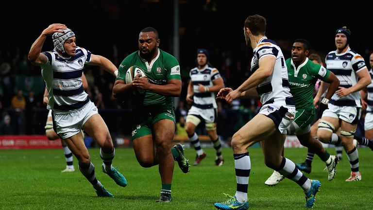 Danny Hobbs-Awoyemi of London Irish breaks clear to score a try during the first leg at Headingley