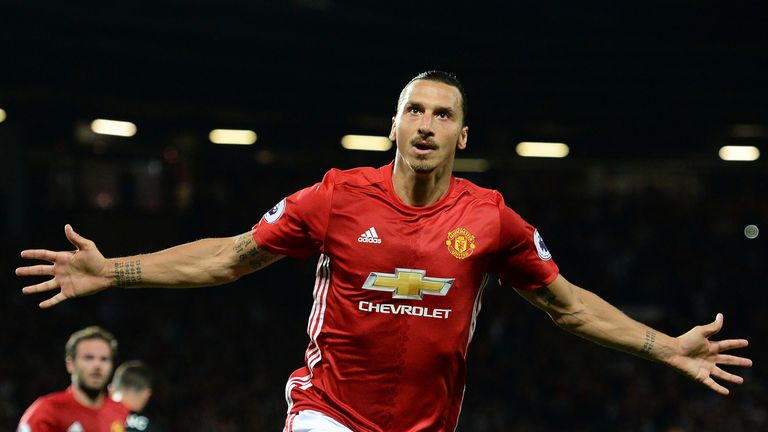 Zlatan Ibrahimovic celebrates after scoring from the penalty spot against Southampton at Old Trafford