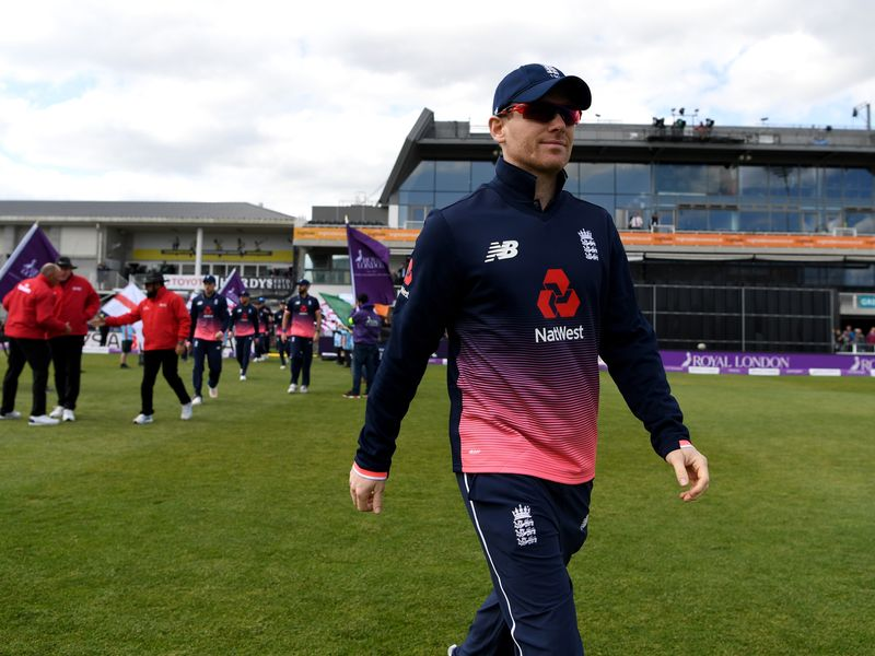 Eoin Morgan leads his England team out for the first ODI