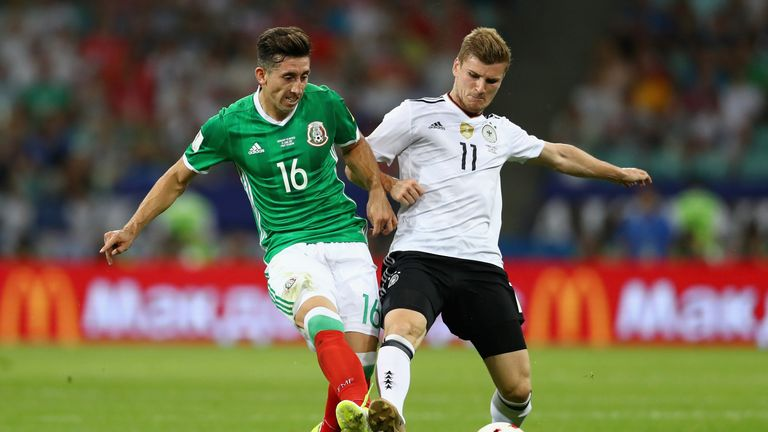 Timo Werner (right) in action for Germany against Mexico