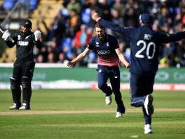 Mark Wood celebrates after dismissing Kane Williamson