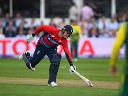 Jason Roy stops the ball from hitting the stumps
