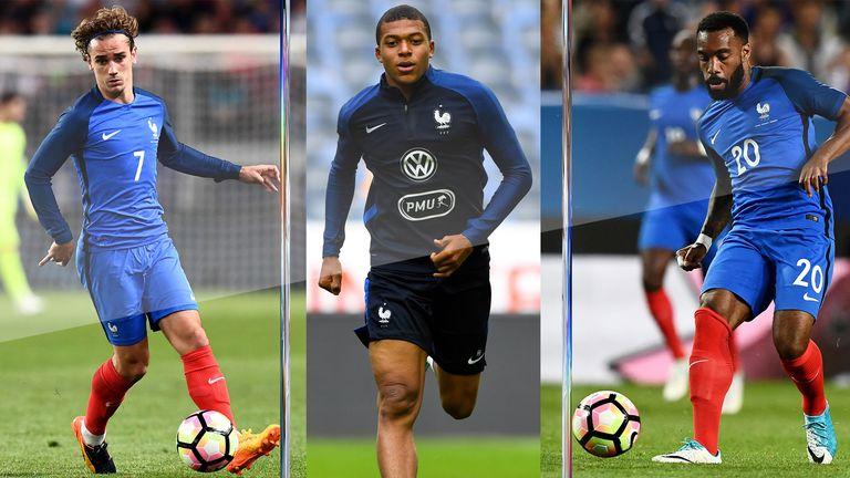 France forwards Antoine Griezmann, Kylian Mbappe and Alexandre Lacazette