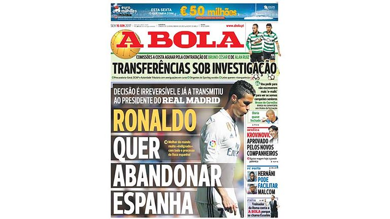 Front page of Portuguese sports newspaper A Bola leads with reports of Cristiano Ronaldo leaving Real Madrid (A Bola)