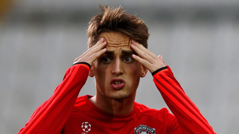 BRUGGE, BELGIUM - AUGUST 25:  Adnan Januzaj of Manchester United warms up during the Manchester United training session held at Jan Breydel Stadium on Augu