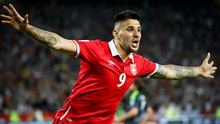 Aleksandar Mitrovic of Serbia celebrates scoring the goal during the FIFA 2018 World Cup Qualifier between Serbia and Wales