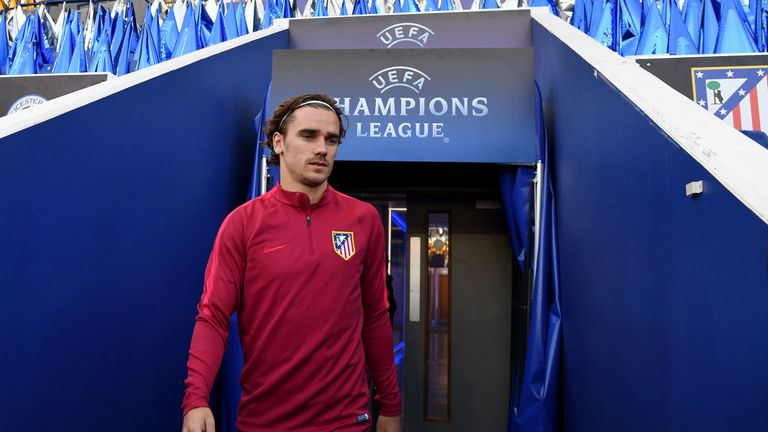 Antoine Griezmann of Atletico Madrid pictured during a training session at The King Power Stadium on April 17, 2017 in Leicester