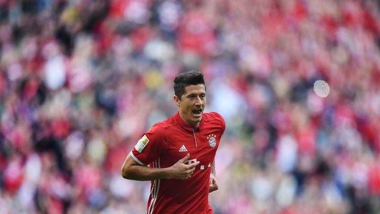 Robert Lewandowski of Bayern Munich celebrates