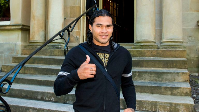 Rangers target Carlos Pena is pictured in good spirits in Glasgow