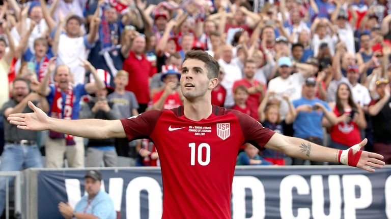 COMMERCE CITY, CO - JUNE 08:  Christian Pulisic #10 of the U.S. National Team celebrates scoring a goal against Trinidad & Tabago in the second half during