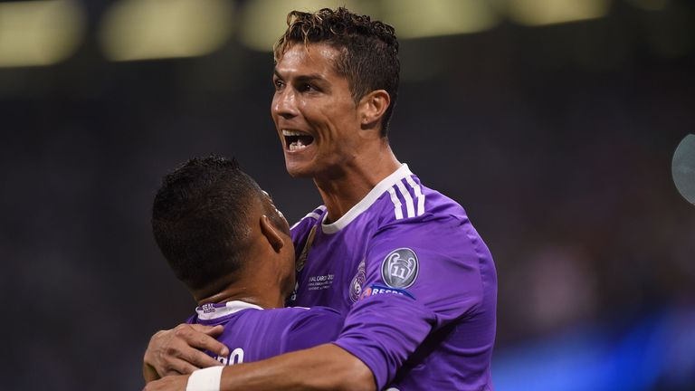 Real Madrid's Portuguese striker Cristiano Ronaldo celebrates after scoring during the UEFA Champions League final football match between Juventus and Real