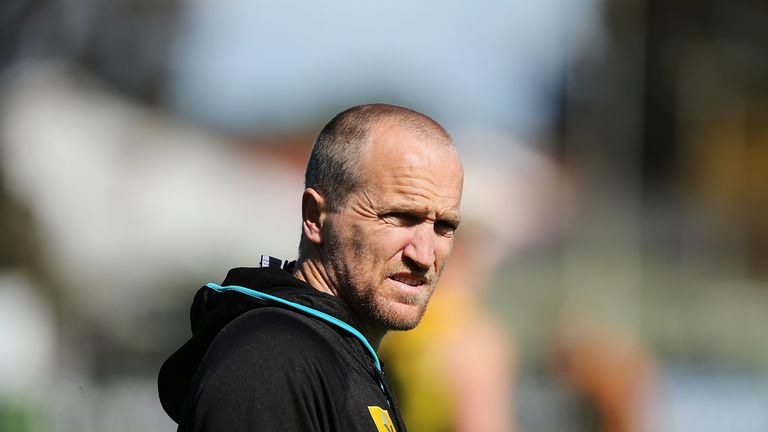 ADELAIDE, AUSTRALIA - SEPTEMBER 01: Port Adelaide high performance manager Darren Burgess looks on during a Port Power AFL recovery session on September 1,