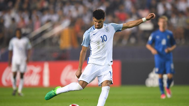 England's forward Dominic Solanke kicks the ball during the U-20 World Cup semi-final football match between England and Italy in Jeonju on June 8, 2017.