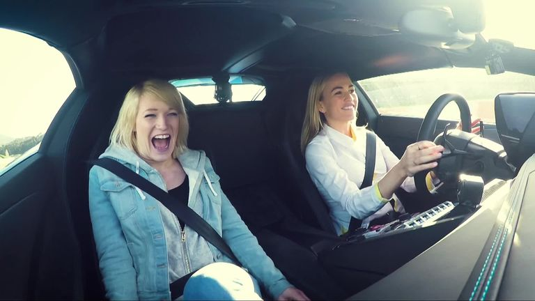 Elise was taken for a spin with Spanish racing driver Carmen Jorda