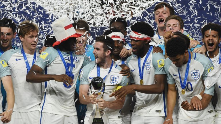 England's players celebrate with the trophy having won the U20 World Cup