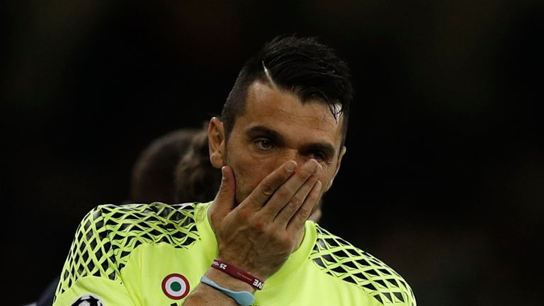Juventus' golakeeper Gianluigi Buffon reacts after the UEFA Champions League final football match between Juventus and Real Madrid at The Principality Stad
