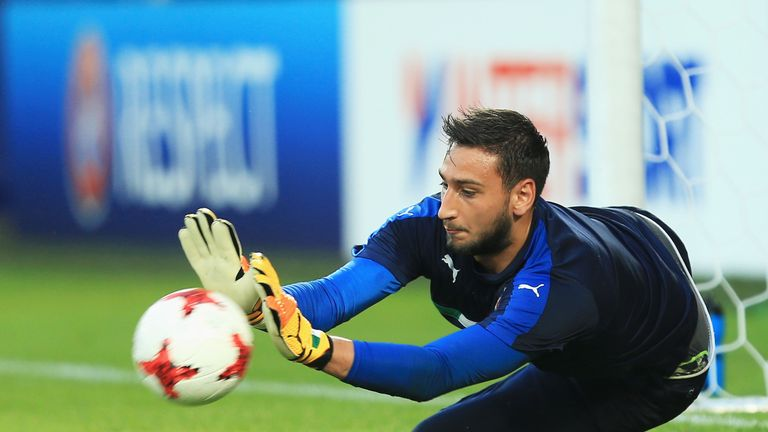 KRAKOW, POLAND - JUNE 24:  Gianluigi Donnarumma of Italy makes a save as he warms up prior to the 2017 UEFA European Under-21 Championship Group C match be
