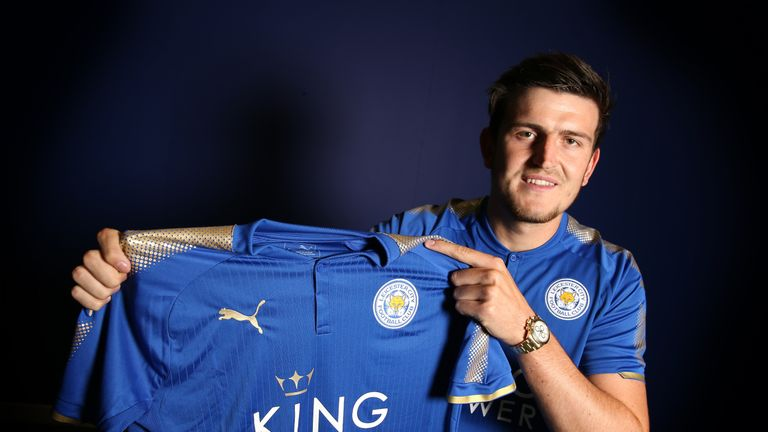 Harry Maguire poses at Belvoir Drive Training Complex after joining Leicester on a five-year contract