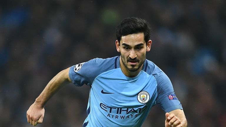 Ilkay Gundogan of Manchester City in action against Celtic in the Champions League