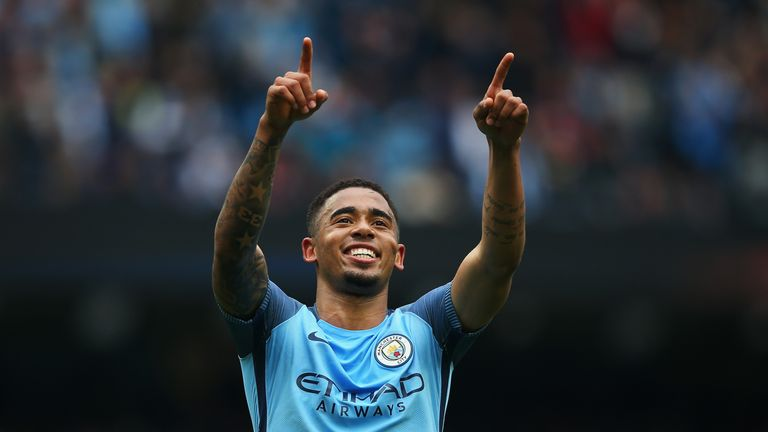 MANCHESTER, ENGLAND - MAY 13: Gabriel Jesus of Manchester City celebrates scoring his sides second goal the Premier League match between Manchester City an