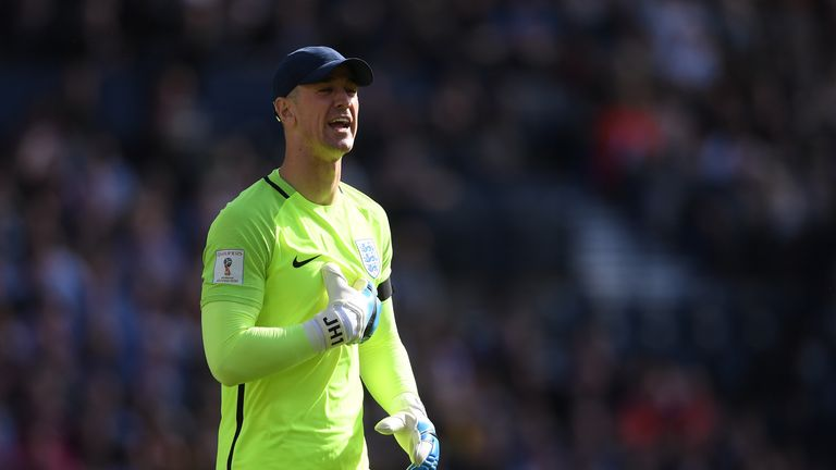 GLASGOW, SCOTLAND - JUNE 10:  Joe Hart of England in action during the FIFA 2018 World Cup Qualifier between Scotland and England at Hampden Park National