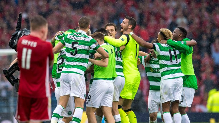 Hayes is ultimately left dejected as Celtic celebrate Cup final victory